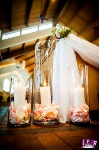 Pew Flowers, Wedding Flowers, Philadelphia Wedding Flowers, New Jersey Wedding Flowers, Ceremony Flowers, Hydrangea, Dahlias, Roses, Lanterns, Candles