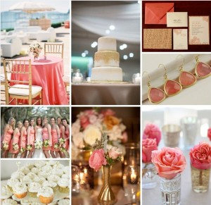Coral and gold wedding color scheme- LOVE!