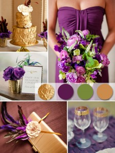 A beautiful inspiration board displaying purple and gold combinations with complimentary accents. Source - invitesweddings.com
