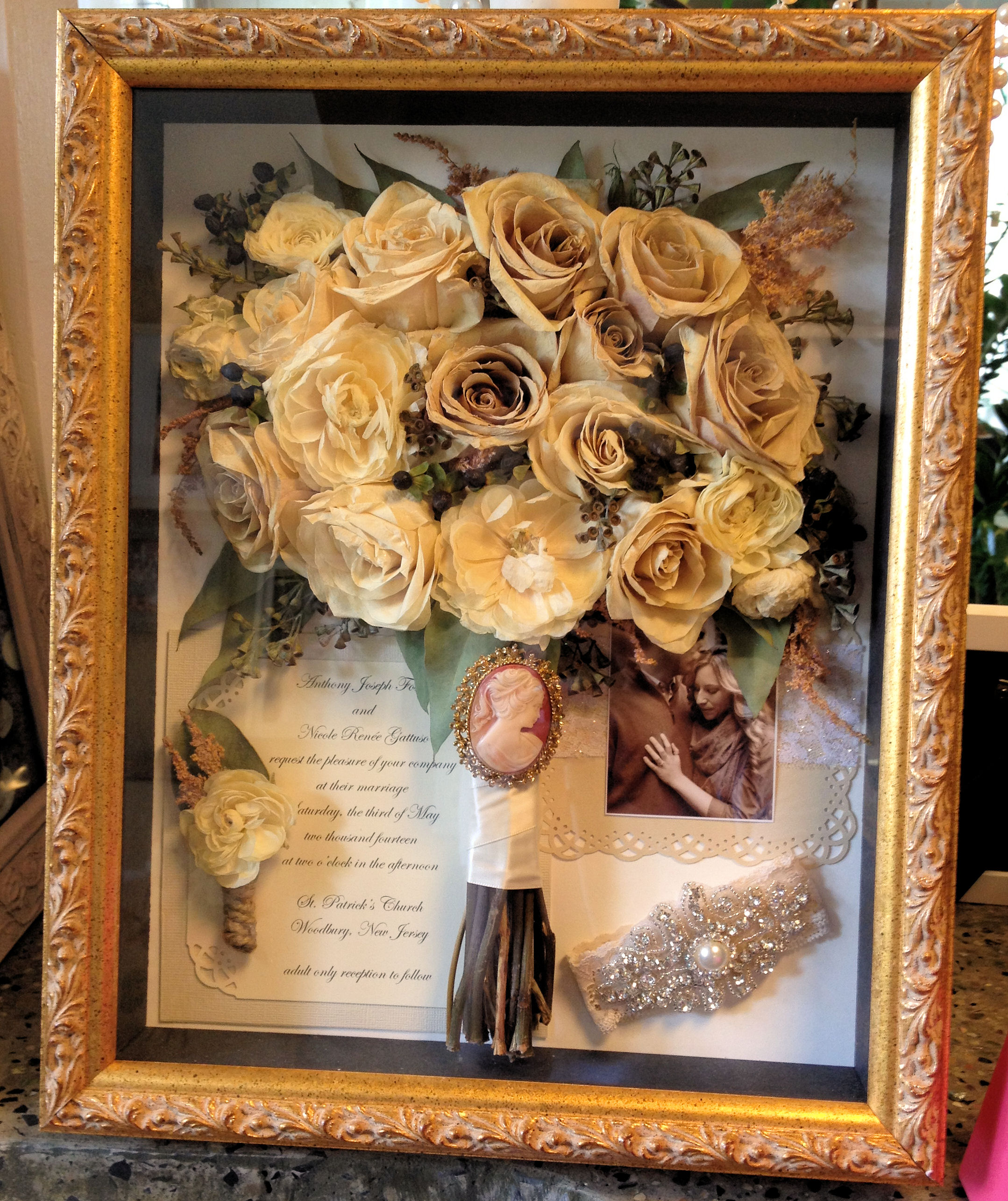 Wedding bouquet preservation gallery wedding dress for Wedding dress shadow box for sale