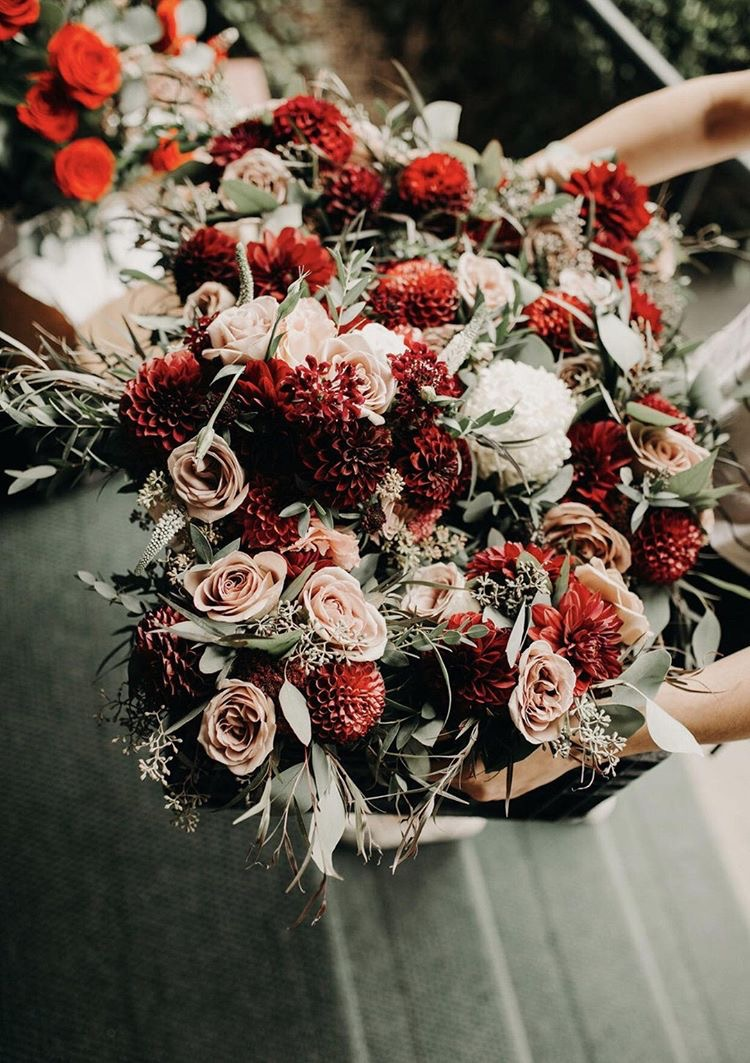 Dusty Rose and Burgundy Blooms